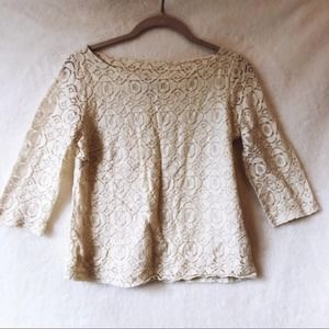 Banana Republic Cream Lace Side-Zip 3/4 Sleeve